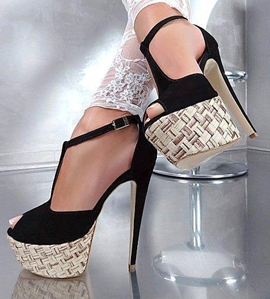 Cool Fashion Black Platform Strap Peep Toe Stiletto Heel Sandals
