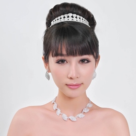 Clic Charming Alloy with Rhinestone Wedding Jewelry Set(Including Tiara
