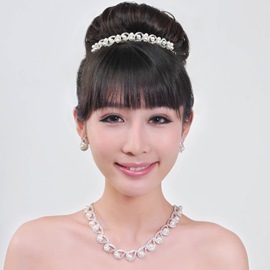 Cute Alloy with Pearl Wedding Jewelry Set( Including Tiara