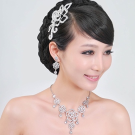 Flower Shaped Alloy With Rhinestone Wedding Bridal Jewelry Set(Including Headwear