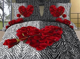 Heart-shaped Red Rose Zebra-stripe 100% Cotton 3D Bedding Sets