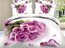 For Love Romantic Pink Roses 100% Cotton 3D Bedding Sets
