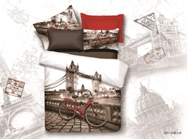 Best Fashion Romatic Love In London Print 4 Pieces Whole Cotton Bedding Sets