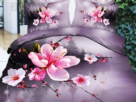 100% Cotton Pink Peach Blossom 3D Bedding Sets