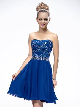 Shining A-Line Beading Short-Length Homecoming/Cocktail Dress