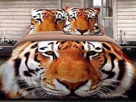 100% Cotton Fashion Tiger 3D Animal Print Bedding Sets