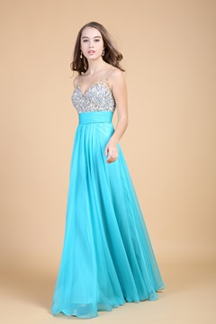 Noble A-Line V-Neck Empire Waistline Beading Floor-Length Prom Dress