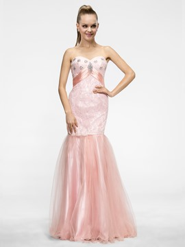 Glamorous Mermaid/Trumpet Floor-length Sweetheart Zipper-up Beading Prom Dress
