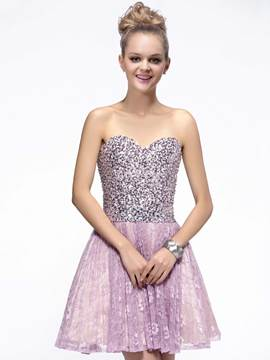 Shinning A-Line Sweetheart Lace Sequins Cocktail/Homecoming Dress