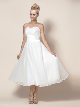 Concise Zipper-Up Tea-Length A-Line Appliques Wedding Dress With Jacket/Shawl
