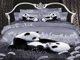 100% Cotton Fashion Cute Panda 3D Animal Print Bedding Sets