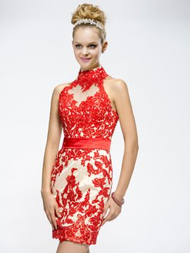 Awesome Demountable Appliques High-Neck Evening/Cocktail Dress