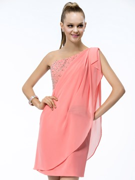 Modern Short/Mini-Length One-Shoulder Sheath/Column Beading Ruffles Cocktail Dress