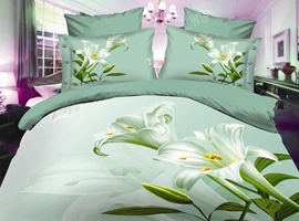 Green Fresh Flower Fashion 4PC 3D Bedding Sets