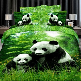 Panda Mother And Child 100% Cotton Animal Print Bedding Sets