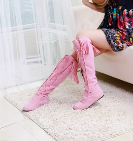 Cute Colors Tassels Cross Belt Women Boots