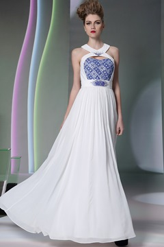 Unique Beading Embroidery Jewel Neckline A-Line Formal/Evening Dress
