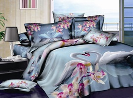 3D Romantic Heart To Heart 100% Cotton Animal Print Bedding Sets
