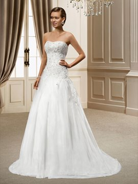 A-Line Strapless Sweep Appliques Charming Wedding Dress