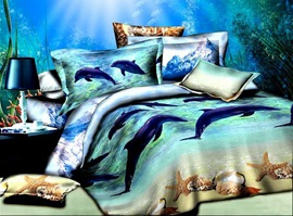 At Dolphin Bay 100% Cotton Animal Print Bedding Sets