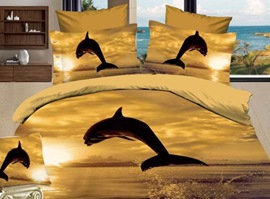 Dolphin At Dusk 100% Cotton 3D Animal Print Bedding Sets
