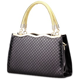 OL Style Patent Leather Grid Handbags for Women