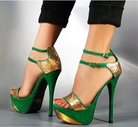 Gorgeous Green & Gloden Contrast Colour High Heel Sandals with Double Ankle Strap