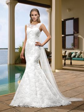 Concise Scoop Zipper-Up Beading Mermaid Wedding Dresses