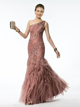 Modern Mermaid/Trumpet Floor-length One-shoulder Appliques/Beading Zipper-up Evening Dress