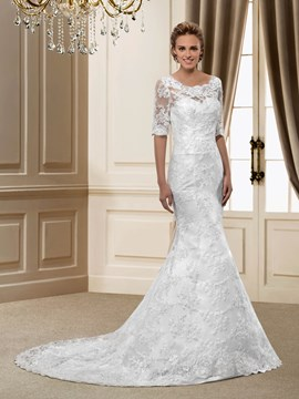 Gorgerous Half Sleeves Trumpet Court Train Wedding Dress
