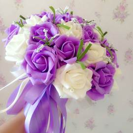 Dramatic Sphere Shaped Purple Rose Wedding Bridal Bouquet with Ribbon