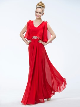 Wonderful A-Line V-Neck Floor -Length Charming Evening Dress