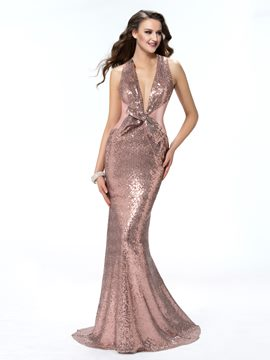 Glamorous Trumpet Sleeveless Halter Bowknot Prom Dress