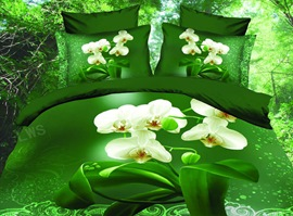 Butterfly Orchid Green Background 3D Bedding Sets