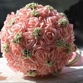 Comely Sphere Shaped Pink Rose Wedding Bridal Bouquet with Ribbon