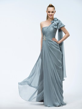 A-Line One-Shoulder Tiered Beading Sashes Floor-length Prom Dress