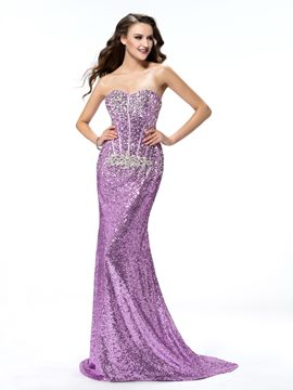 Sexy Trumpet/Mermaid Sweetheart Sequins Sweep train Prom Dress
