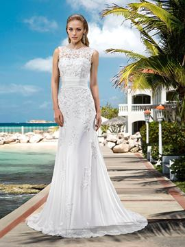 Mermaid Sweep Appliques Attractive Wedding Dress