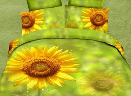Yellow-green Sunflower 3D Bedding Sets