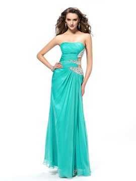 Sexy A-line Floor-length Strapless Sequins Prom Dress