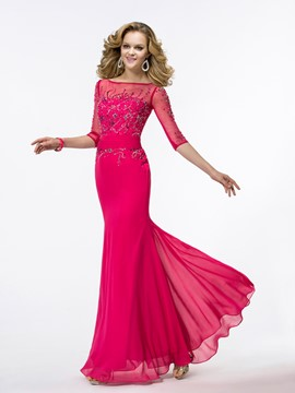 Attractive Sheath Half Sleeves Floor Length Evening Dress