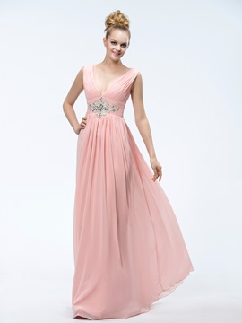 A-Line V-Neck Appliques Beading Pretty Prom Dress