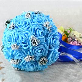 Comely Sphere Shaped Blue Rose Wedding Bridal Bouquet with Ribbon