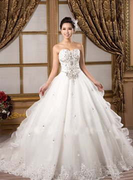 Gorgeous Ball Gown Sweetheart Appliques Beading Chapel Attractive Wedding Dress