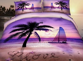 Purple Romantic Beach 3D Bedding Sets