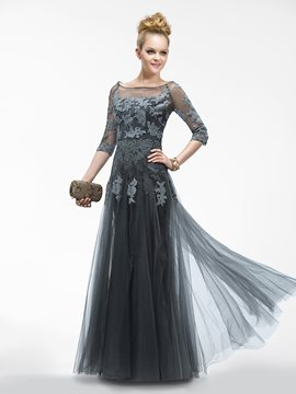 Elegant A-line Floor-length Bateau Neck 3/4 Sleeves Zipper-up Appliques Evening Dress