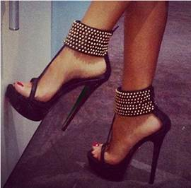 Fashionable Black Suede Ankle Strap High Heel Shoes with Amazaing Rhinestone