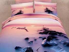 The Story Of Dolphin 100% Cotton Animal Print Bedding Sets