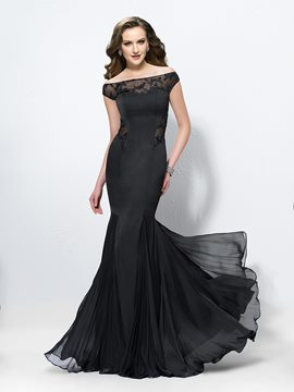 Sexy Trumpet/Mermaid Off the Shoulder Pleats Prom Dress