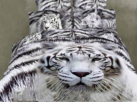 White Tiger Animal Print Bedding Sets
